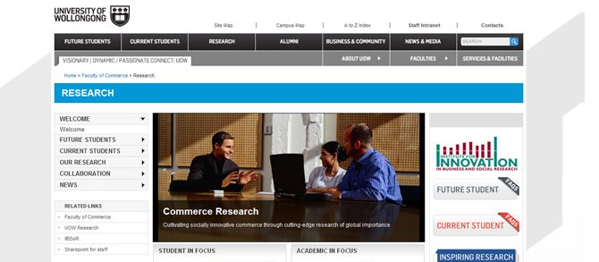UOW Commerce website content