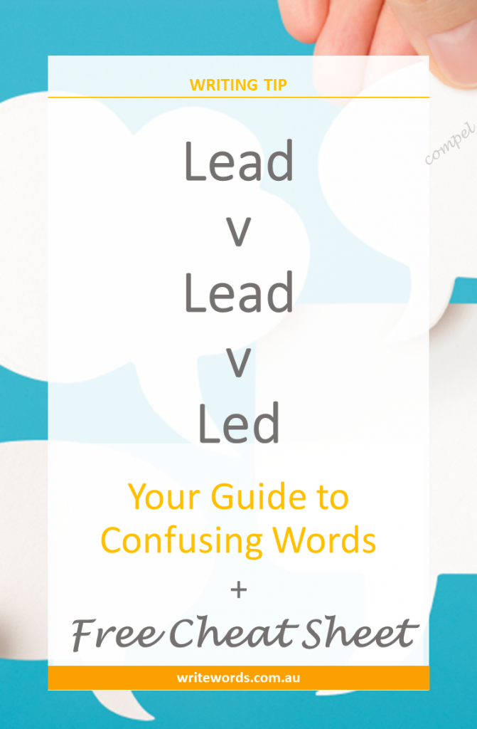 White thought bubbles on blue background with text overlay – Led v Lead – Your guide to confusing words