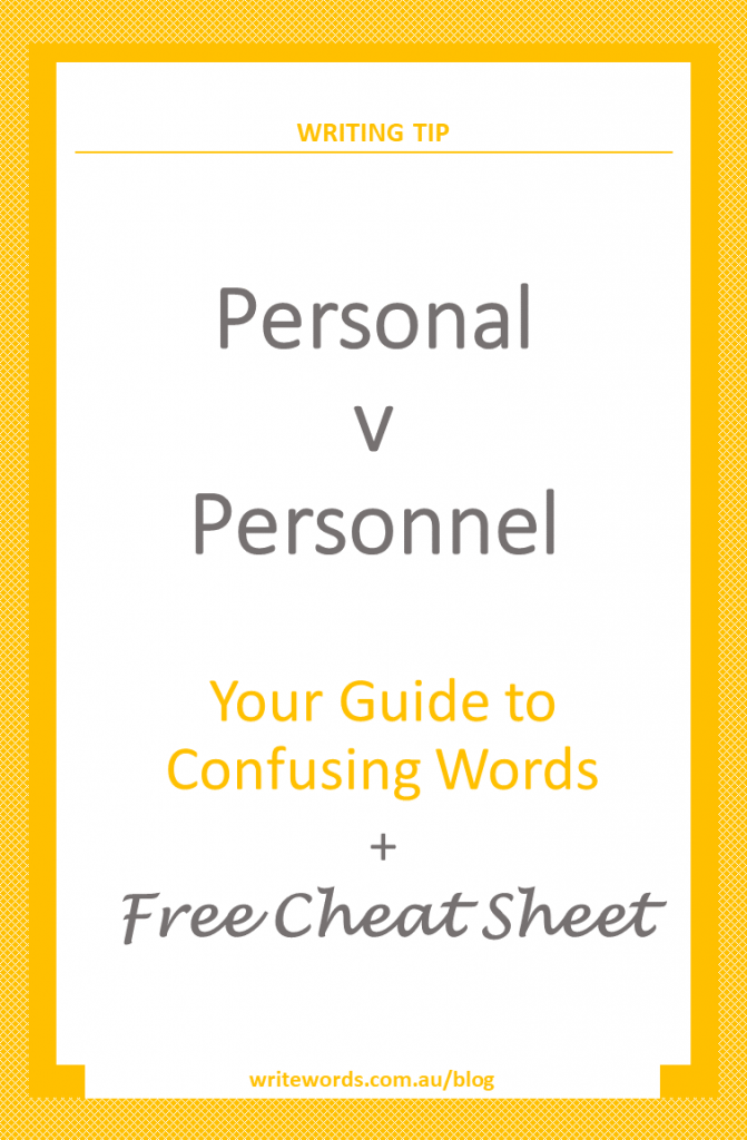 Orange borders on white with orange text overlay – Personal v Personnel – Your guide to confusing words
