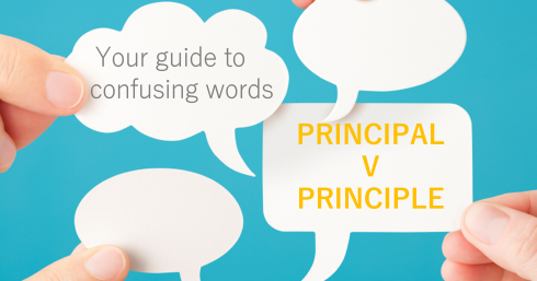 Thought bubbles with text overlay – Principle v Principal – Your guide to confusing words