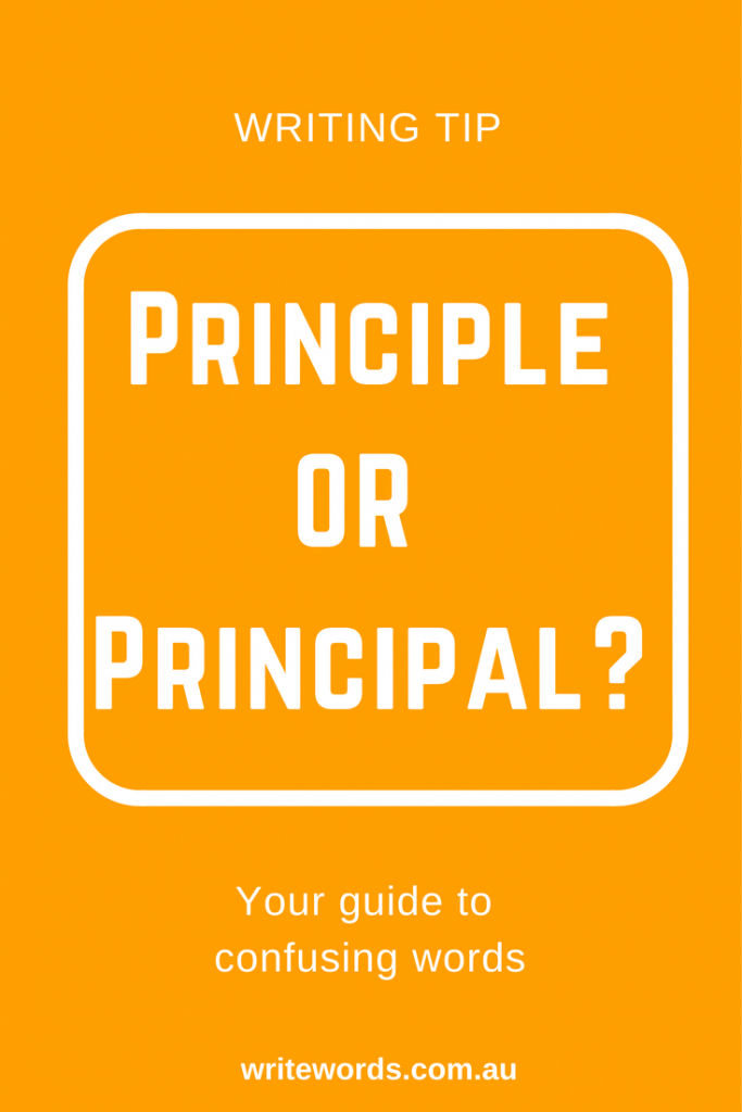 White text on orange background – Principle v Principal – Your guide to confusing words