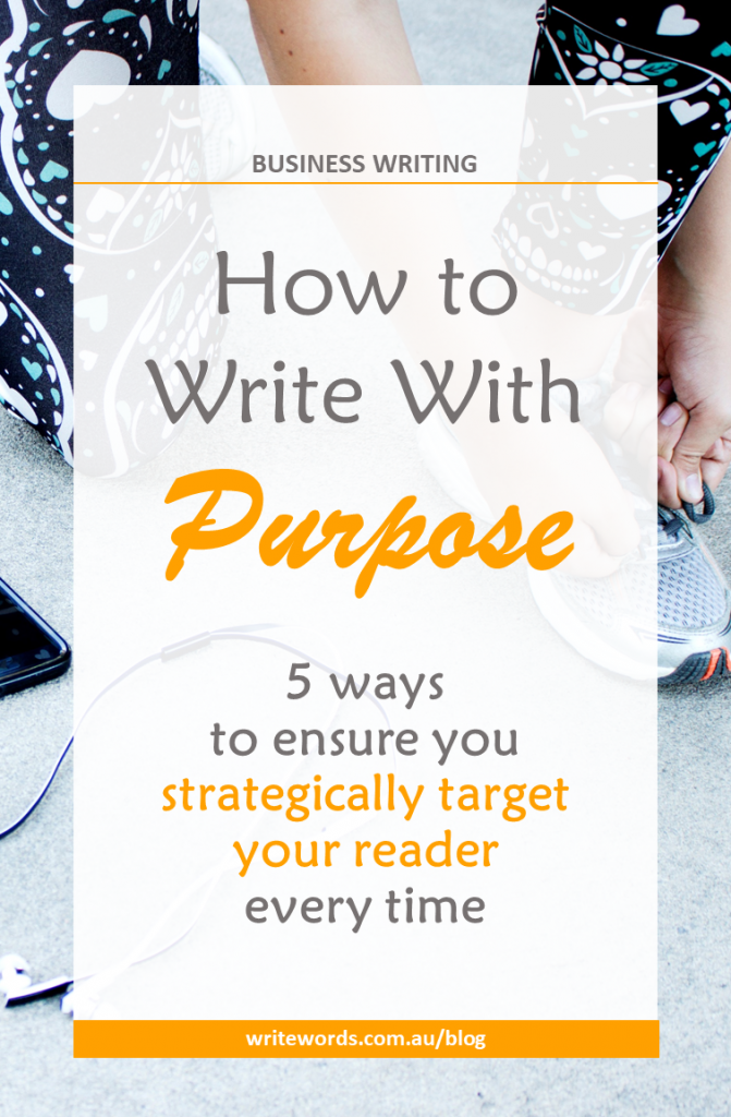Runner tying lace with text overlay – How to write with purpose. 5 ways to ensure you strategically target your reader every time