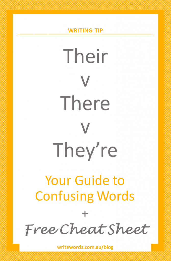 Orange borders on white with orange text overlay – Their v There v They're – Your guide to confusing words