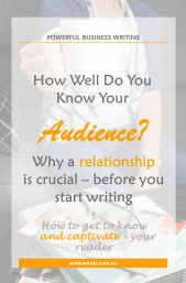 Woman holding coffee cup; writing books and glasses on table with text overlay – How well do you know your reader? Why a relationship is crucial – before you start writing