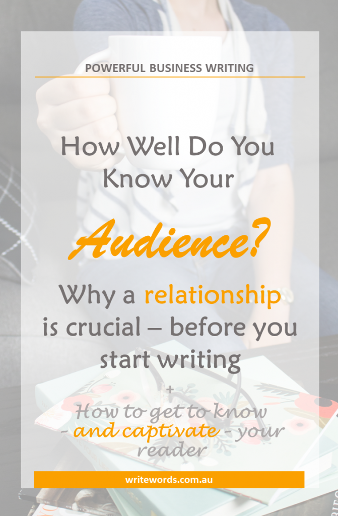 Woman holding coffee cup; writing books and glasses on table with text overlay – How well do you know your audience? Why a relationship is crucial with your reader before you start writing