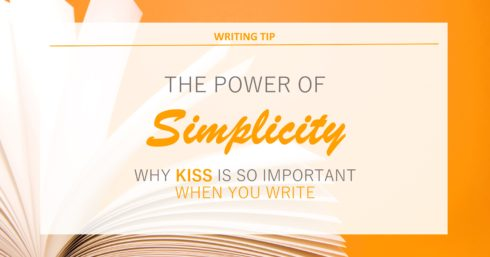 Blank notepad on orange background with text overlay – The power of simplicity. Why you need to KISS when you write