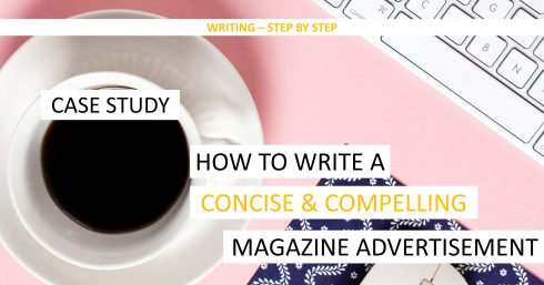 Coffee and notepad with text overlay – Case study – How to write a concise and compelling magazine ad