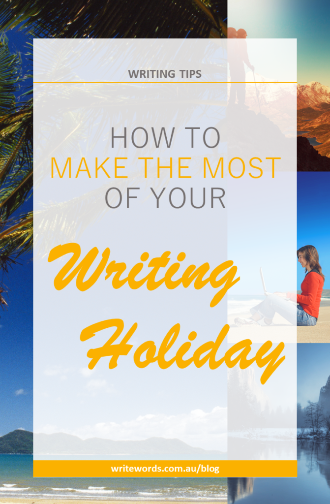 Palms, sea, working on beach, hiking, mountains with text overlay – How to make the most of your writing holiday