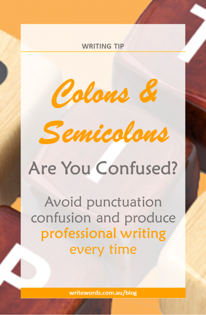 Scrabble letters with text overlay – Colons & Semicolons – are you confused? Avoid punctuation confusion and product professional writing every time.