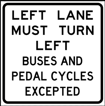 Road sign - except