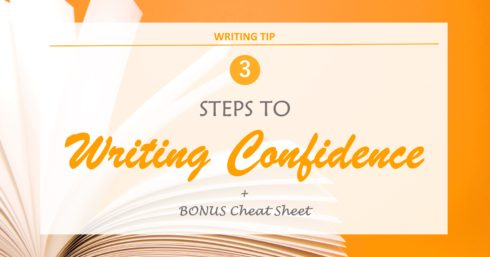 Blank notepad on orange with text overlay – 3 steps to writing confidence + bonus cheat sheet