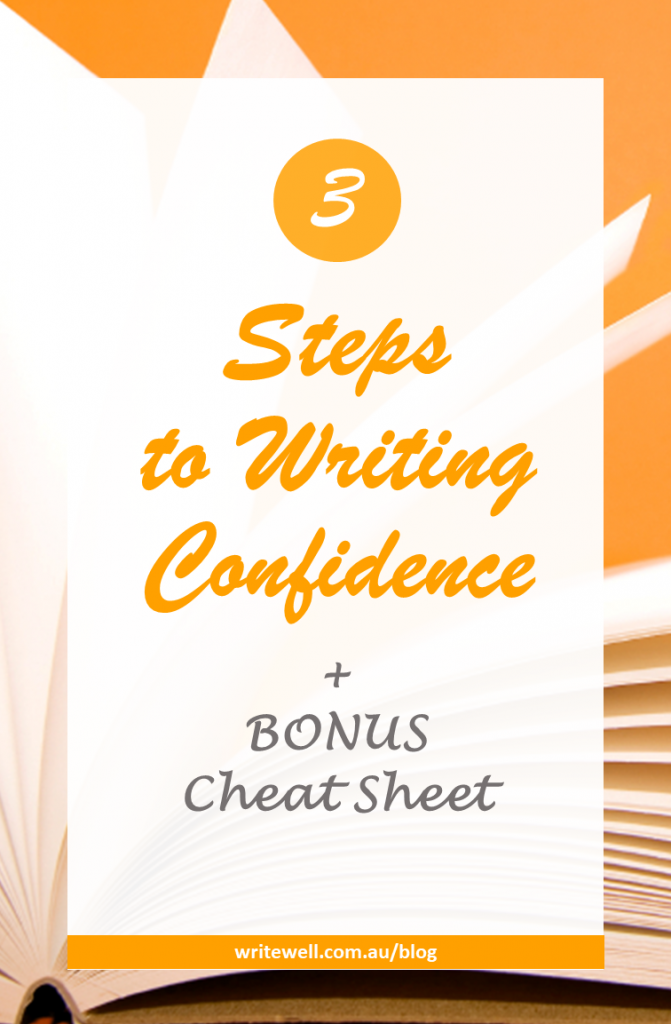 Blank notepad on orange background with text overlay – 3 Steps to Writing Confidence
