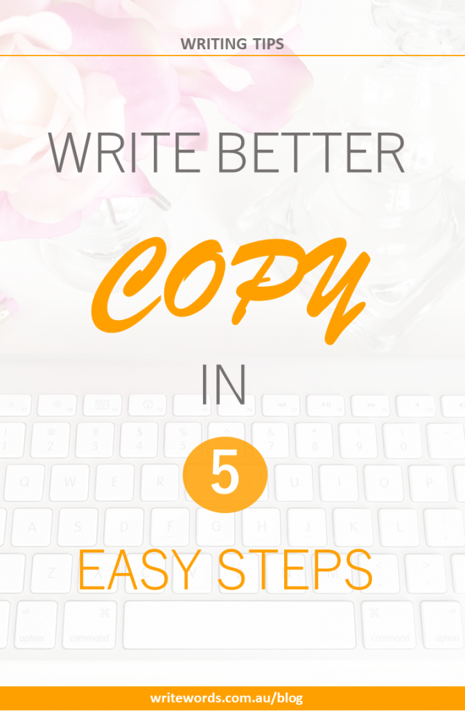Keyboard, pink flowers and vase with text overlay – Write better copy in 5 easy steps