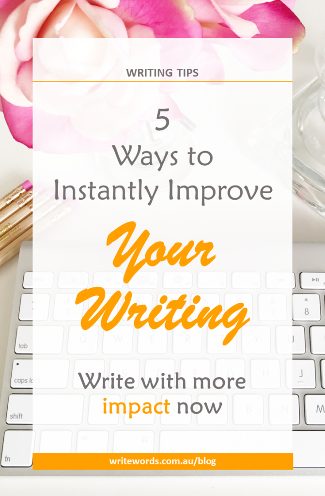 Keyboard, pink flowers and vase with text overlay – 5 ways to instantly improve your writing. Write with more impact now