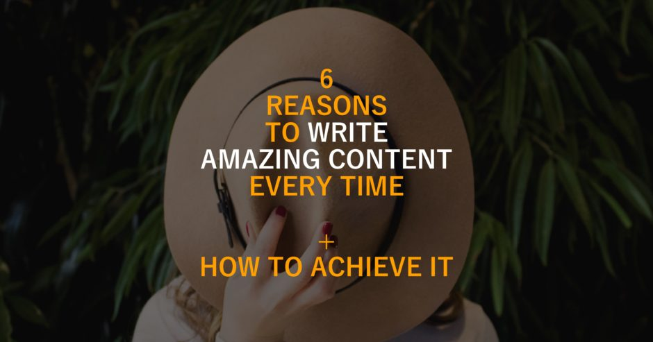 Hat over woman's face with text overlay – 6 reasons you need to write well every time