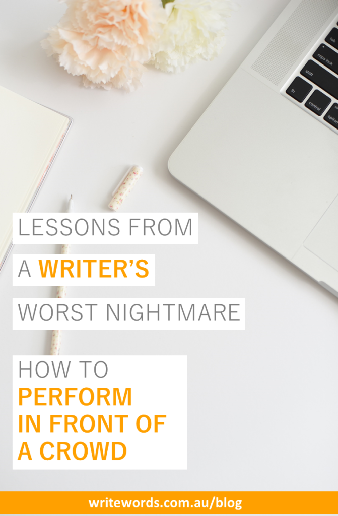 Laptop, pen and flowers with text overlay – Lessons from a writer's worst nightmare. How to perform for a crowd