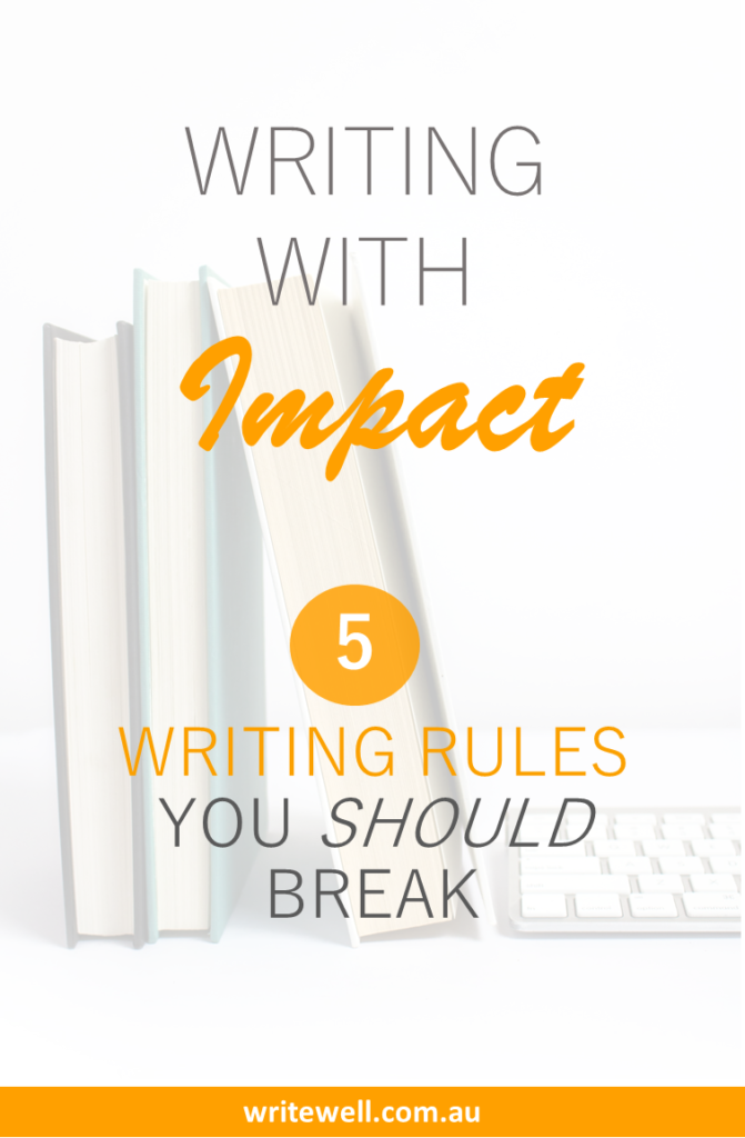 Old books and modern keyboard with text overlay – Writing with impact – 5 rules you should break