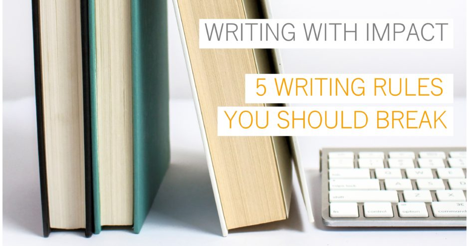 Old books and modern keyboard with text overlay – Writing with impact – 5 writing rules you should break