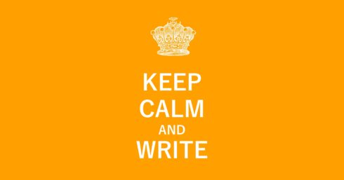 Crown and stay clam layout white on orange with text overlay – Stay calm and write.