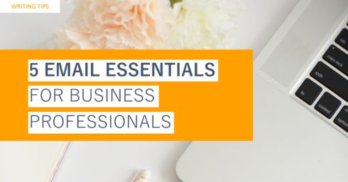 Laptop keyboard and pastel flowers with text overlay – Writing tips – 5 email essentials for business professionals