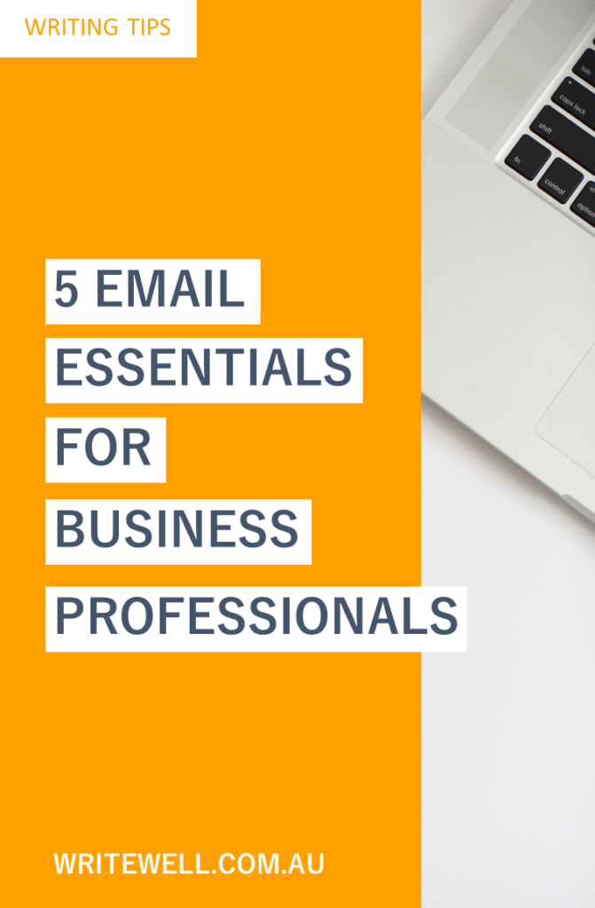 Laptop keyboard with orange block and text overlay – Writing tips – 5 email essentials for business professionals