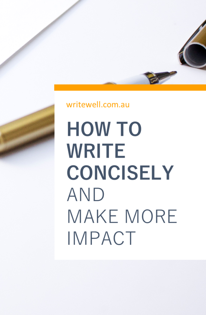 Gold pen on white paper with text overlay - How to write concisely and make more impact