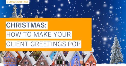 Snowy Christmas scene with orange and white text overlay – 5 unique greetings – Christmas: how to make your client greetings pop